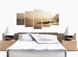 5 Part Set of Bedroom Brown Canvas Wall Art