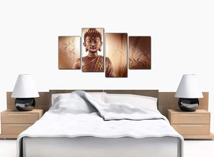4 Piece Set of Bedroom Brown Canvas Prints