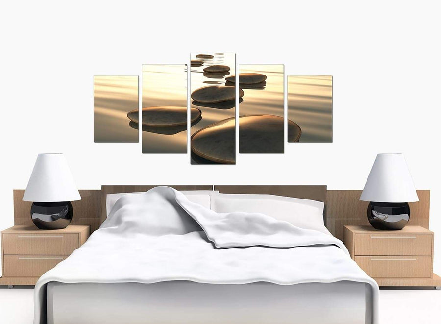 Set Of 5 Modern Brown Canvas Prints