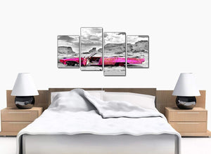 Four Part Set of Bedroom Pink Canvas Prints