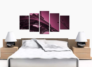 Five Panel Set of Bedroom Plum Canvas Wall Art