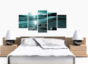 5 Piece Set of Bedroom Teal Canvas Picture