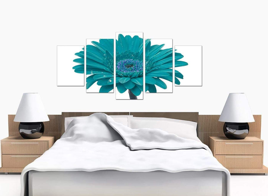 Set Of 5 Large Teal Canvas Prints