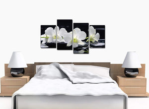 4 Piece Set of Bedroom Black White Canvas Picture