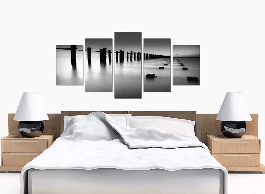 Set Of 5 Large Black White Canvas Art