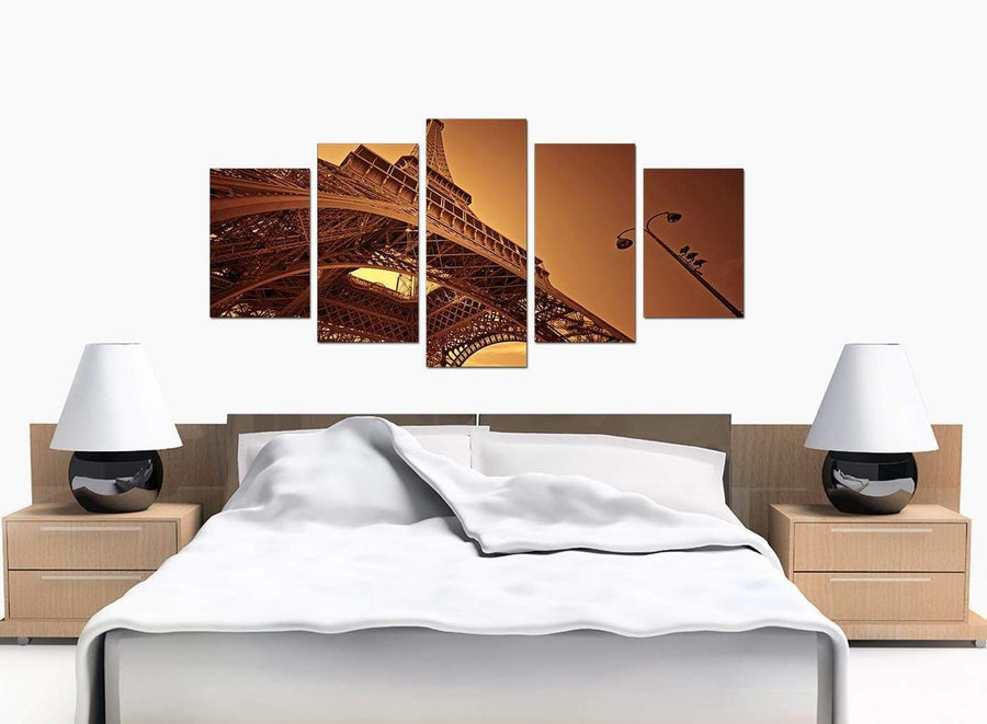 5 Part Set of Extra-Large Brown Canvas Prints