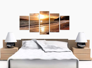 5 Panel Set of Bedroom Brown Canvas Wall Art