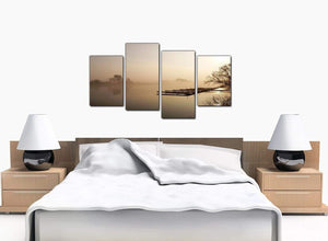 4 Piece Set of Large Brown Canvas Picture