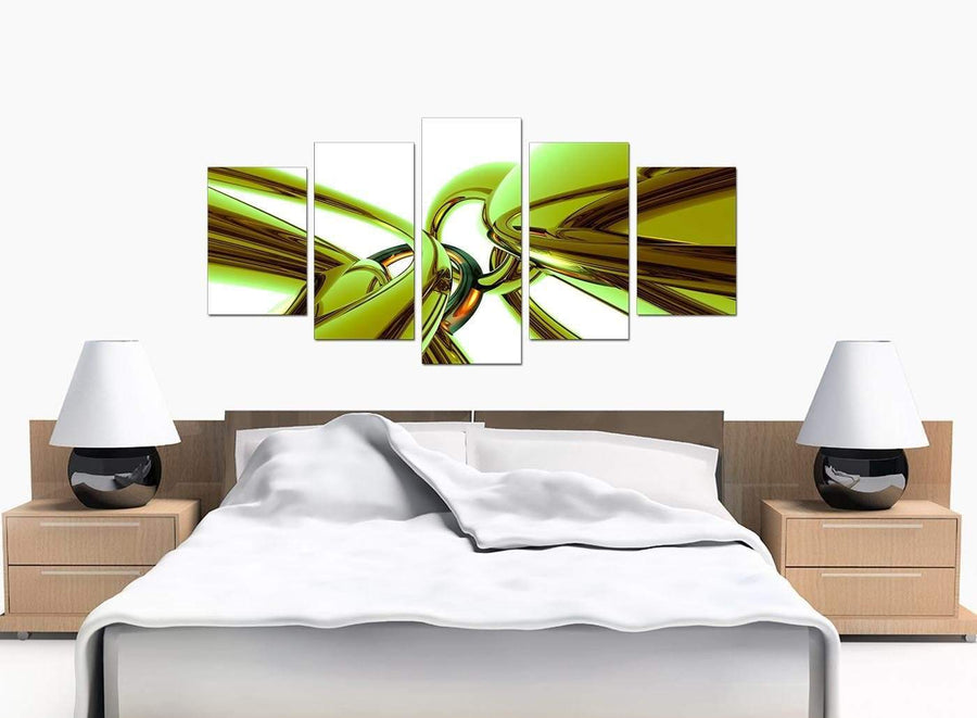 5 Panel Set of Cheap Lime Green Canvas Wall Art