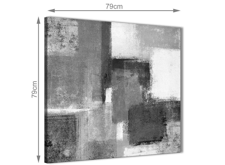 Black White Grey Abstract Hallway Canvas Wall Art Decorations 1s368l - 79cm Square Print