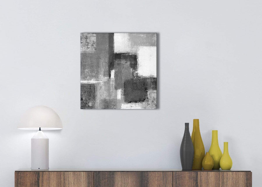 Black White Grey Kitchen Canvas Wall Art Accessories - Abstract 1s368s - 49cm Square Print