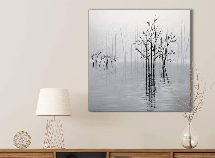 Black White Grey Tree Landscape Painting Kitchen Canvas Pictures Accessories - 1s416s - 49cm Square Print