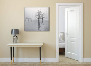 Black White Grey Tree Landscape Painting Dining Room Canvas Pictures Decorations 1s416l - 79cm Square Print