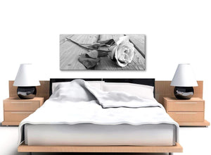 Black White Rose Floral Bedroom Canvas Pictures Accessories - 1372 - 120cm Print