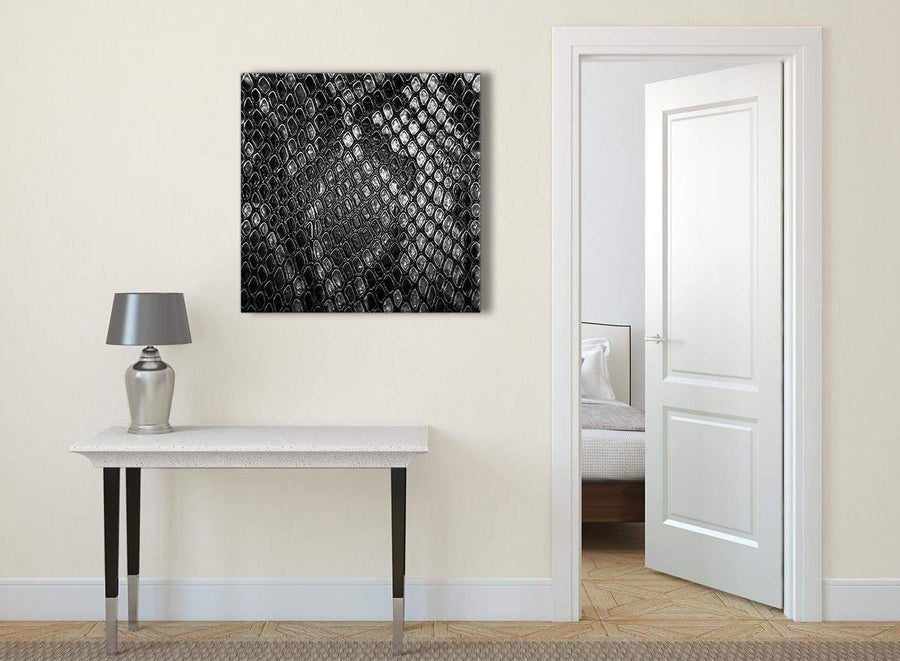 Black White Snakeskin Animal Print Abstract Living Room Canvas Wall Art Decorations 1s510l - 79cm Square Print