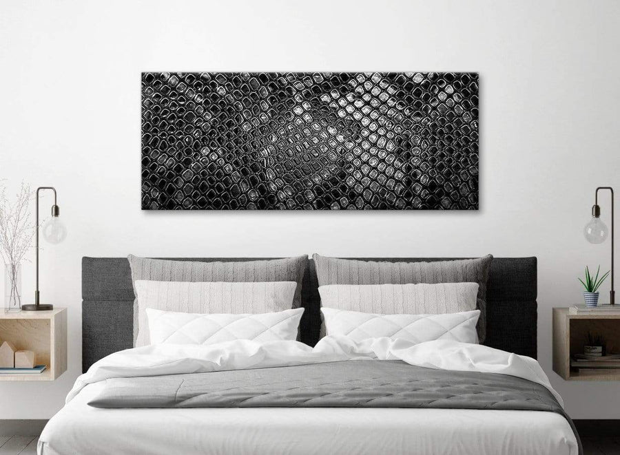 Black White Snakeskin Animal Print Living Room Canvas Pictures Accessories - Abstract 1510 - 120cm Print