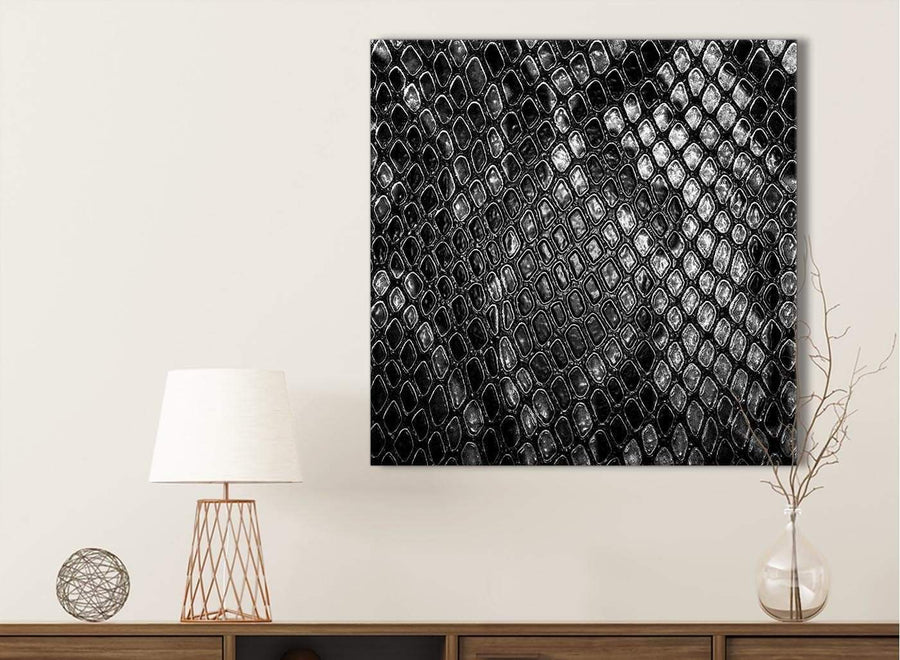 Black White Snakeskin Animal Print Bathroom Canvas Wall Art Accessories - Abstract 1s510s - 49cm Square Print