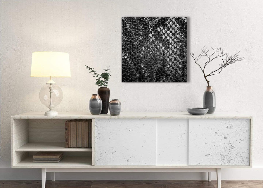 Black White Snakeskin Animal Print Stairway Canvas Wall Art Decorations - Abstract 1s510m - 64cm Square Print