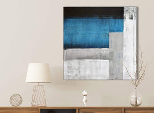 Blue Grey Painting Bathroom Canvas Pictures Accessories - Abstract 1s423s - 49cm Square Print