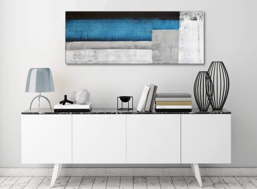 Blue Grey Painting Living Room Canvas Wall Art Accessories - Abstract 1423 - 120cm Print