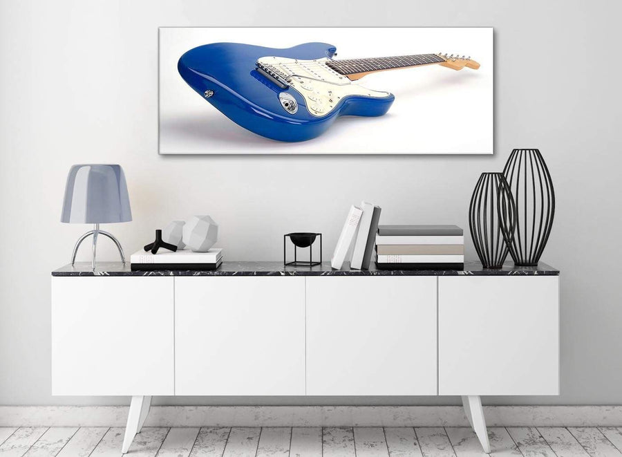 Blue White Fender Electric Guitar - Bedroom Canvas Wall Art Accessories - 1447 - 120cm Print