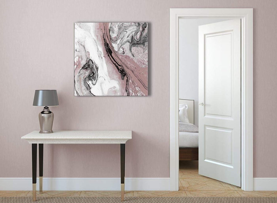 Blush Pink and Grey Swirl Abstract Office Canvas Pictures Decorations 1s463l - 79cm Square Print