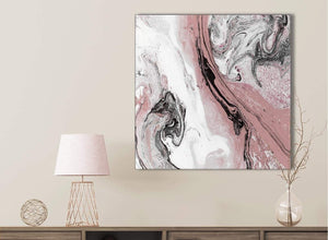 Blush Pink and Grey Swirl Bathroom Canvas Wall Art Accessories - Abstract 1s463s - 49cm Square Print