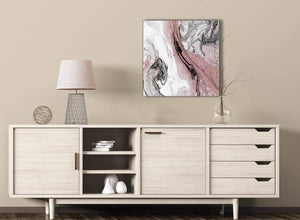 Blush Pink and Grey Swirl Kitchen Canvas Pictures Decor - Abstract 1s463m - 64cm Square Print