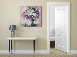 Blush Pink Flowers Painting Abstract Hallway Canvas Pictures Decor 1s441l - 79cm Square Print