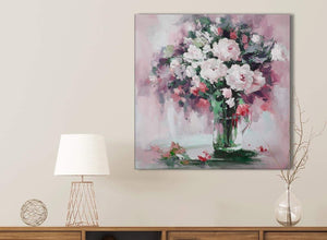Blush Pink Flowers Painting Bathroom Canvas Pictures Accessories - Abstract 1s441s - 49cm Square Print