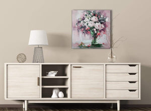 Blush Pink Flowers Painting Kitchen Canvas Pictures Decorations - Abstract 1s441m - 64cm Square Print