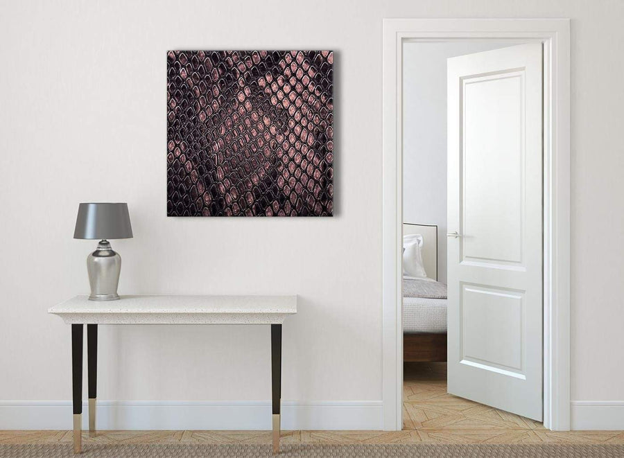 Blush Pink Snakeskin Animal Print Abstract Hallway Canvas Wall Art Decor 1s473l - 79cm Square Print