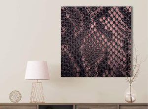 Blush Pink Snakeskin Animal Print Kitchen Canvas Wall Art Accessories - Abstract 1s473s - 49cm Square Print