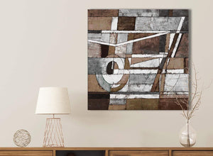 Brown Beige White Painting Bathroom Canvas Pictures Accessories - Abstract 1s407s - 49cm Square Print