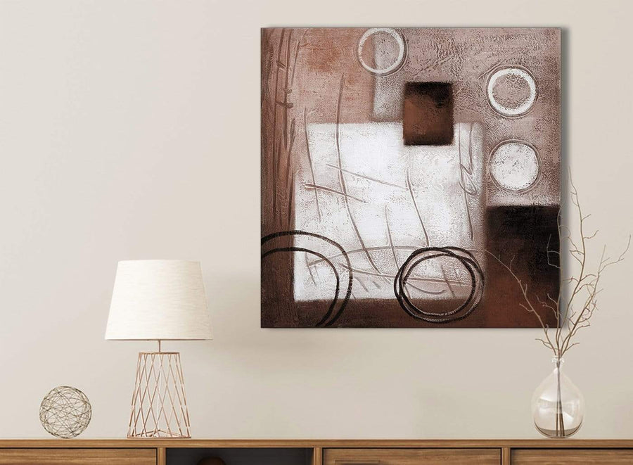 Brown White Painting Kitchen Canvas Pictures Accessories - Abstract 1s422s - 49cm Square Print