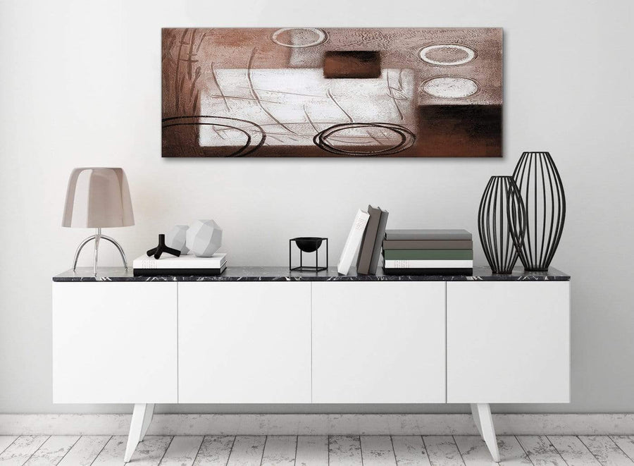 Brown White Painting Living Room Canvas Wall Art Accessories - Abstract 1422 - 120cm Print