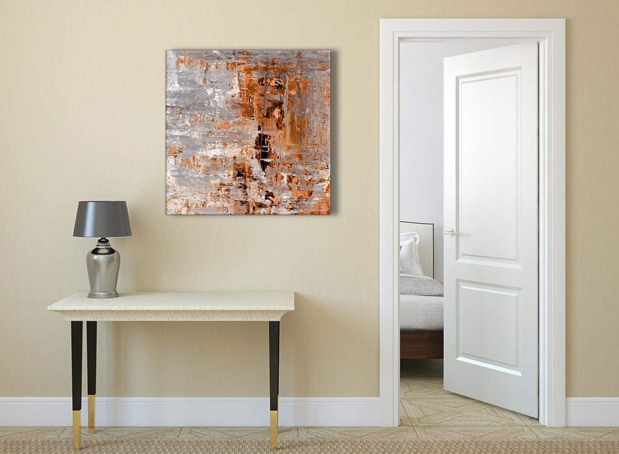 Burnt Orange Grey Painting Abstract Hallway Canvas Wall Art Decor 1s415l - 79cm Square Print