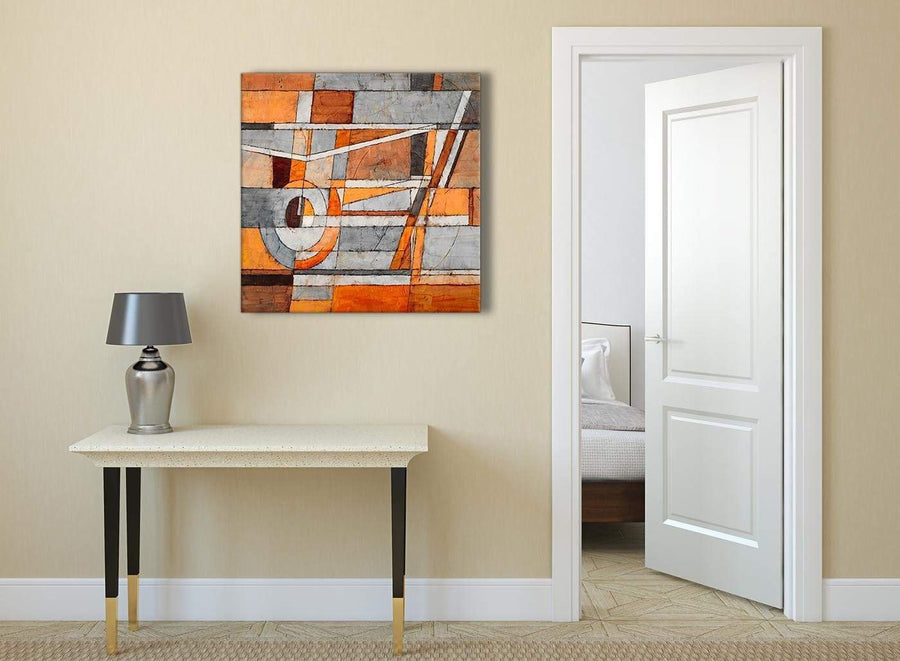 Burnt Orange Grey Painting Abstract Bedroom Canvas Wall Art Decorations 1s405l - 79cm Square Print