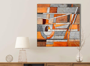 Burnt Orange Grey Painting Kitchen Canvas Pictures Accessories - Abstract 1s405s - 49cm Square Print
