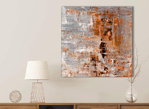 Burnt Orange Grey Painting Kitchen Canvas Pictures Accessories - Abstract 1s415s - 49cm Square Print