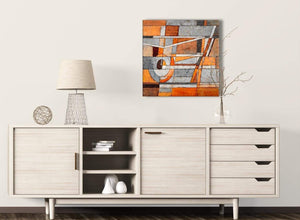 Burnt Orange Grey Painting Kitchen Canvas Pictures Decorations - Abstract 1s405m - 64cm Square Print