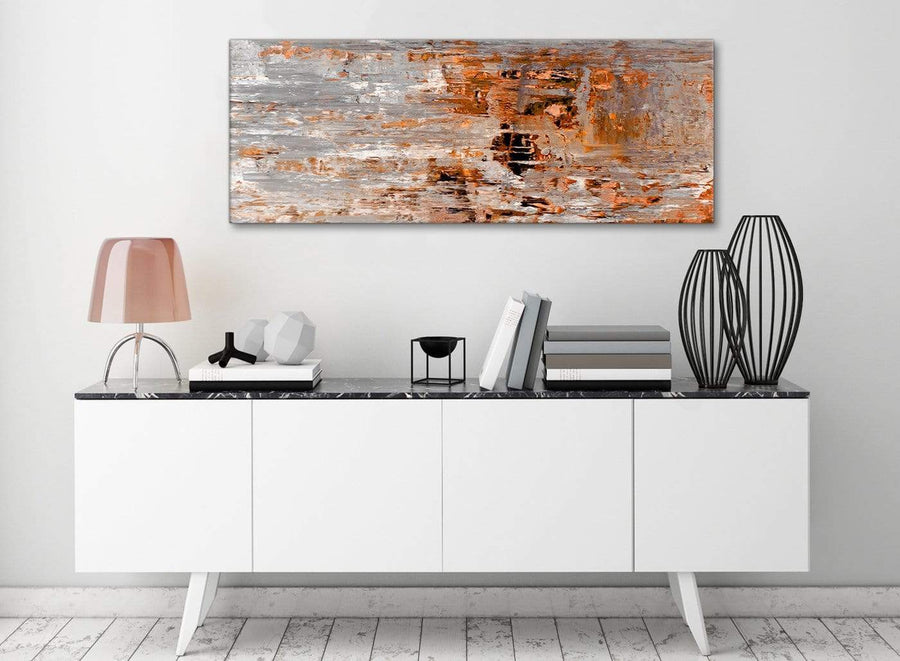 Burnt Orange Grey Painting Living Room Canvas Wall Art Accessories - Abstract 1415 - 120cm Print