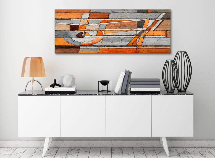 Burnt Orange Grey Painting Living Room Canvas Pictures Accessories - Abstract 1405 - 120cm Print