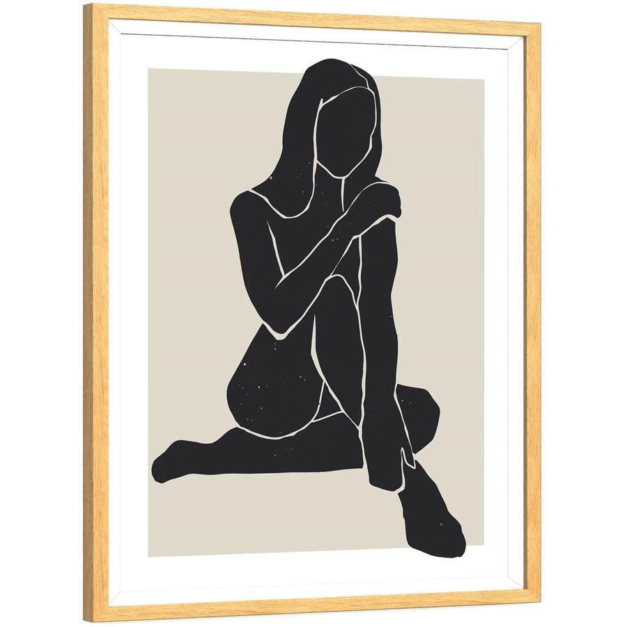 Black and White Figurative Feminine Yoga Girl Canvas Wall Art Print