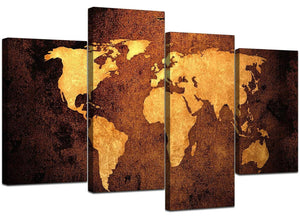 World Map Canvas Art in Antique Style for Office