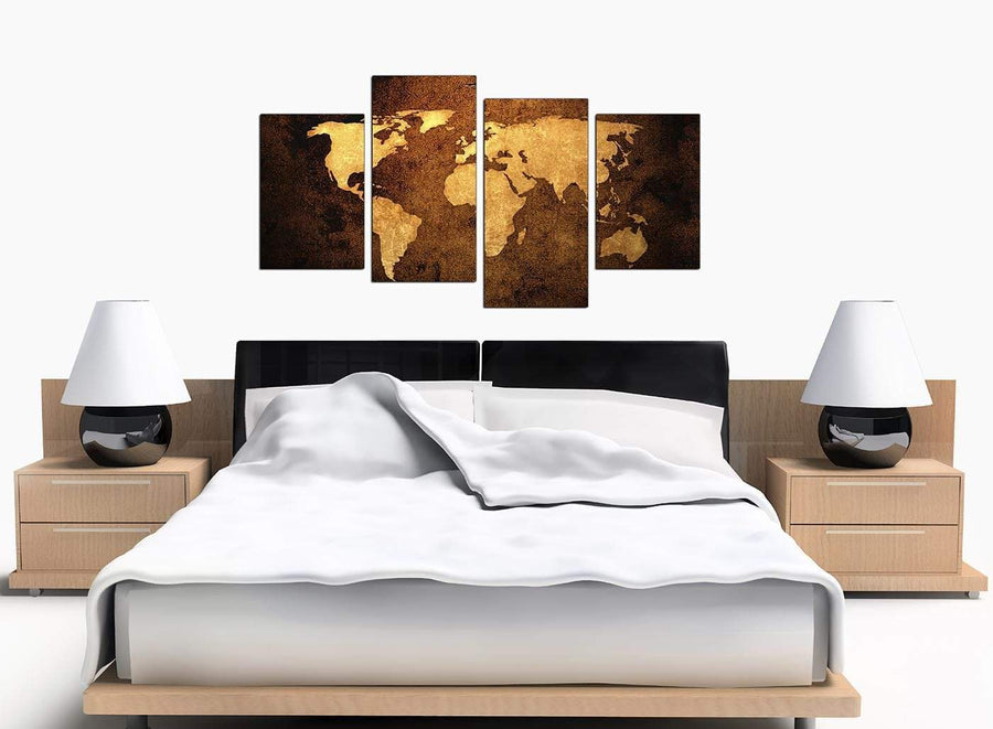 Old World Map - Brown Cream Canvas