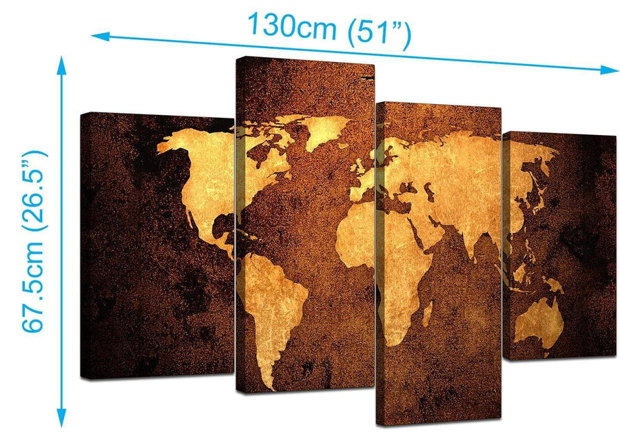 World Map Canvas Wall Art in Brown Leather Effect