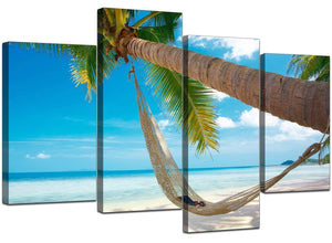 4 Piece Set of Extra-Large Blue Canvas Prints