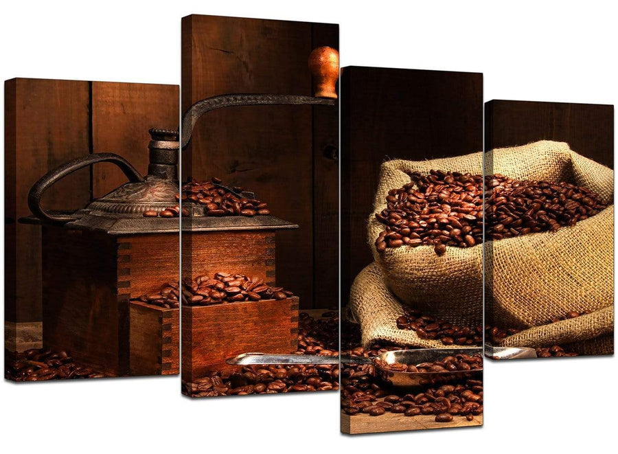 Four Part Set of Living-Room Brown Canvas Wall Art
