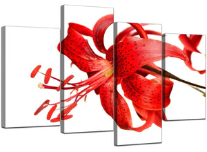 4 Part Set of Living-Room Red Canvas Art